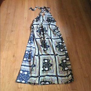 Long High-Slit Halter Dress